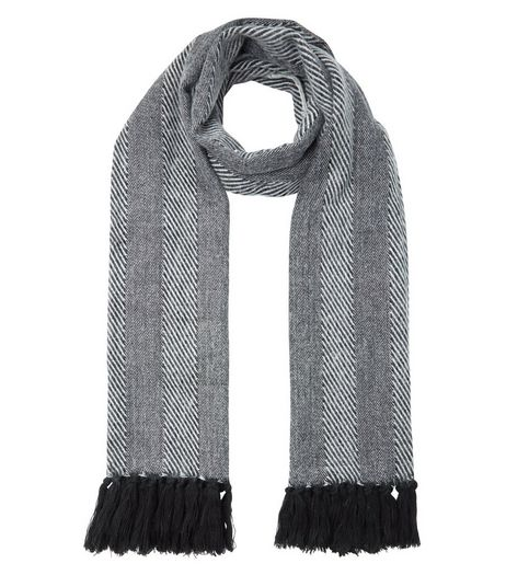 Monochrome Stripe Herringbone Fringed Scarf | New Look