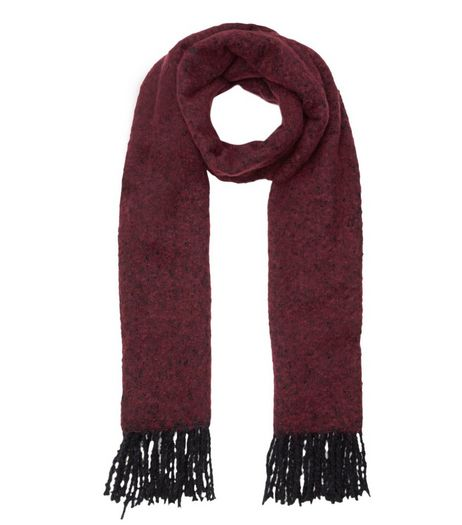 Burgundy Boucle Textured Scarf | New Look