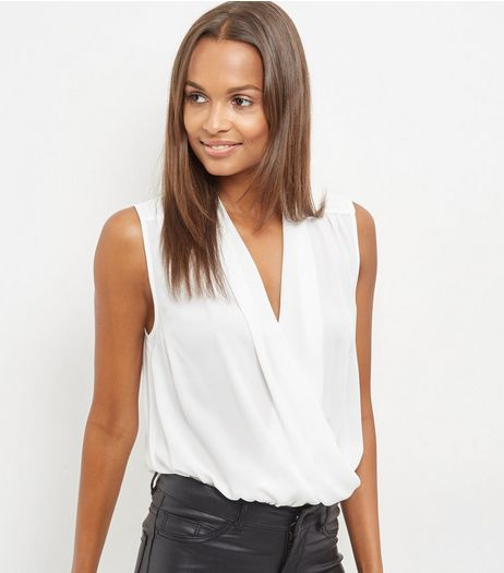 Tall Cream Wrap Front Sleeveless Bodysuit  | New Look