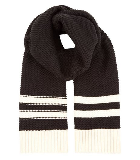 Black Stripe Trim Ribbed Knitted Scarf | New Look