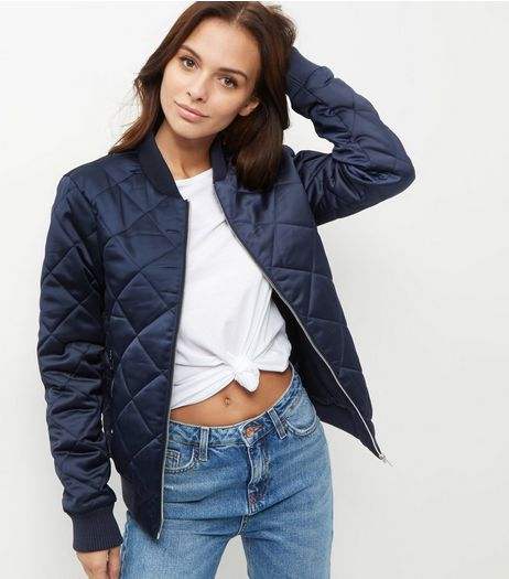 Tall Navy Diamond Quilted Bomber Jacket  | New Look