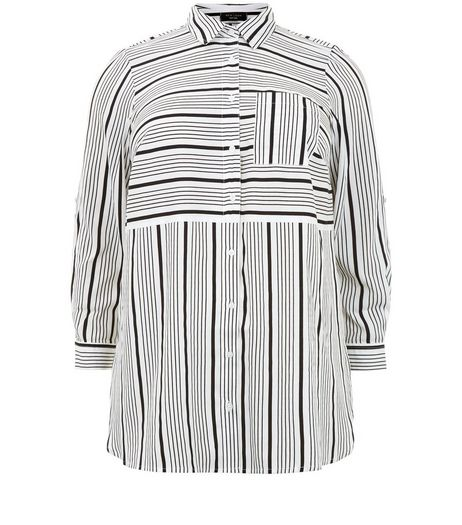 Curves White Stripe Print Shirt | New Look