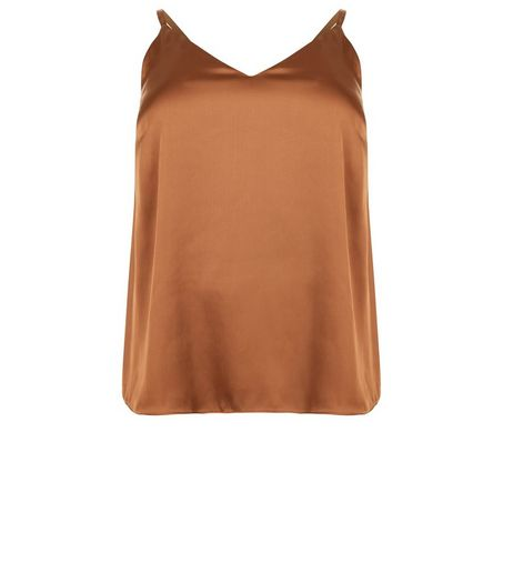 Curves Brown Sateen Cami Top | New Look