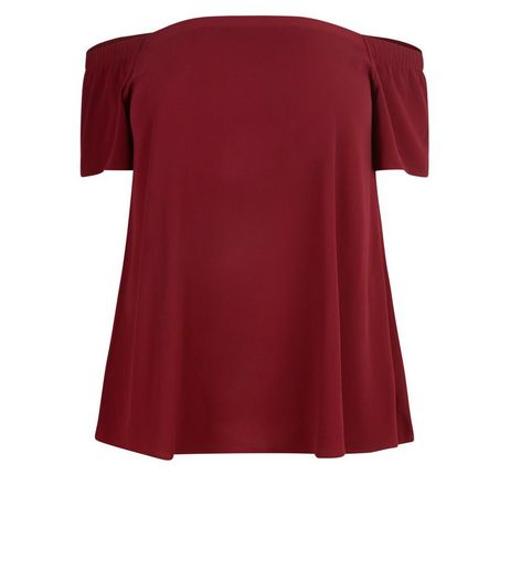 Curves Burgundy Bardot Neck Top | New Look