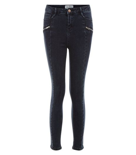 Teens Navy Side Seam Zip Front Skinny Jeans | New Look