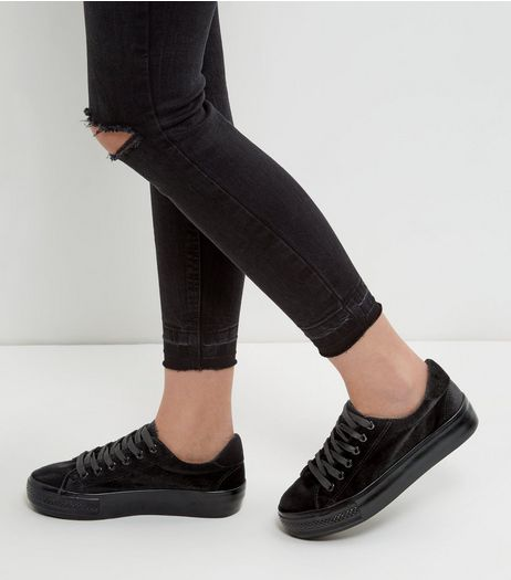 Black Velvet Flatform Plimsolls  | New Look