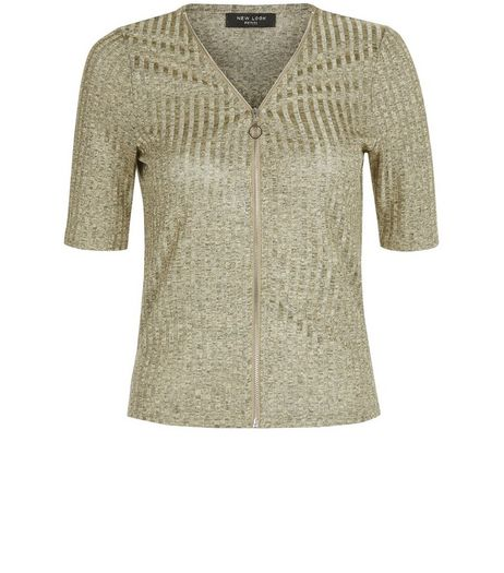 Petite Gold Ribbed Zip Front Top | New Look