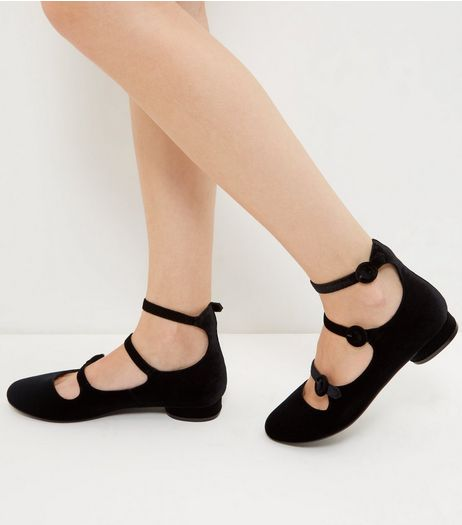 Black Triple Strap Pumps  | New Look