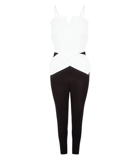 Loving This Black Colour Block Cross Front Jumpsuit | New Look
