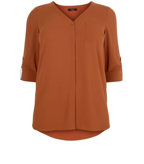 Curves Chestnut V Neck Shirt | New Look