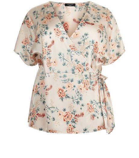 Curves Pink Floral Wrap Front Top | New Look
