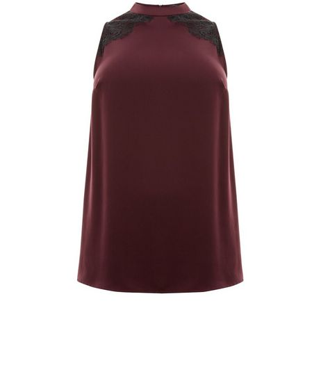 Burgundy Lace Trim High Neck Top | New Look