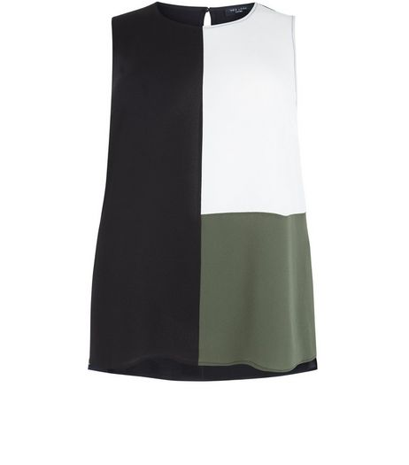 Curves Black Colour Block Sleeveless Top | New Look
