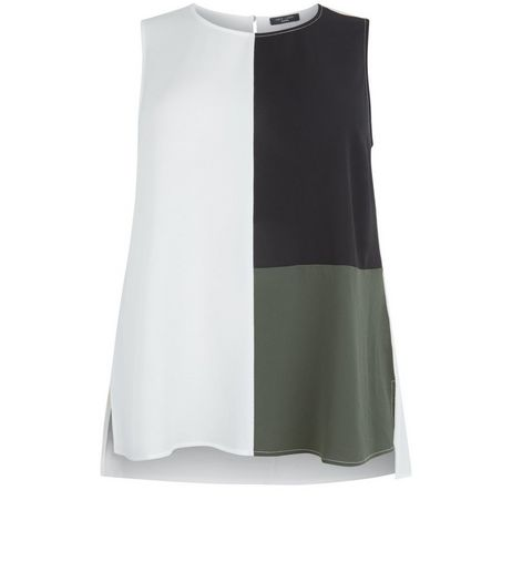 Curves White Colour Block Sleeveless Top | New Look