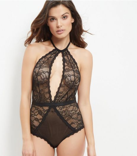 Black Lace Halter Neck Bodysuit | New Look