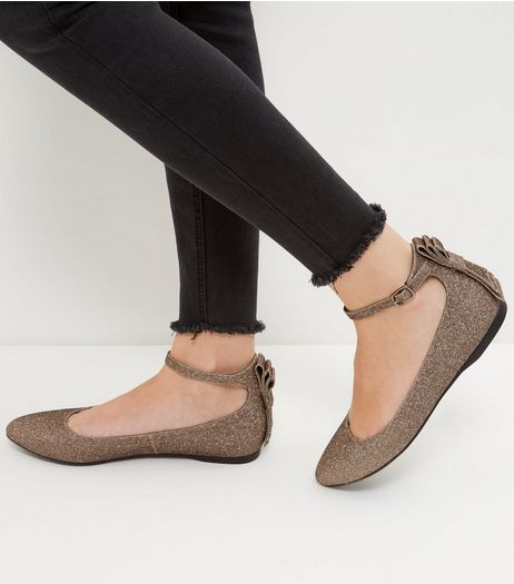 Bronze Shimmer Bow Back Pumps | New Look