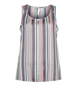 Cameo Rose Blue Stripe Sleeveless Top | New Look