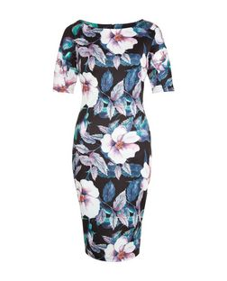 AX Paris Black Floral Print Short Sleeve Midi Dress | New Look