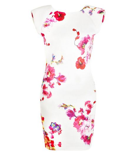 AX Paris Cream Floral Print Cap Sleeve Bodycon Dress | New Look