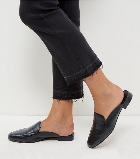 Black Leather Mules | New Look