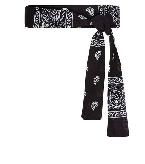 Black Paisley Print Belt | New Look