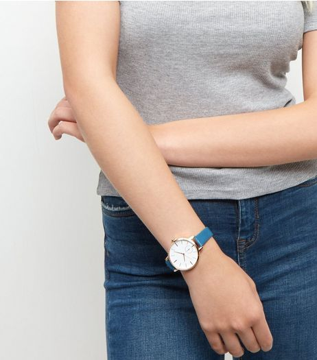 Blue Leather- Look Strap Watch | New Look