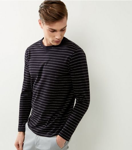 Black Stripe Long Sleeve Cotton T-Shirt | New Look