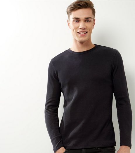 Black Ribbed Crew Neck Long Sleeve T-shirt | New Look