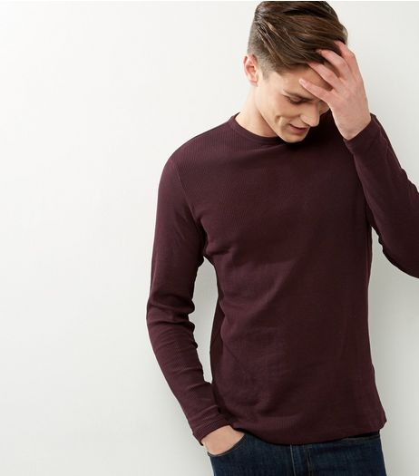 Dark Purple Ribbed Crew Neck Long Sleeve T-shirt | New Look