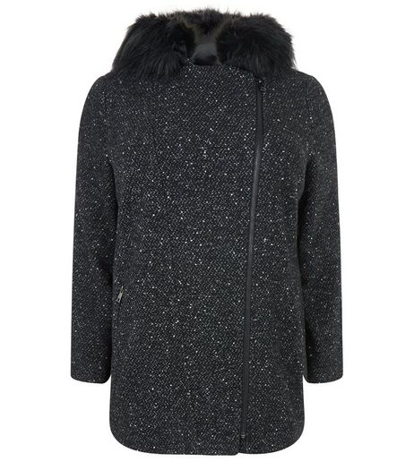 Curves Black Faux Fur Trim Flecked Parka | New Look