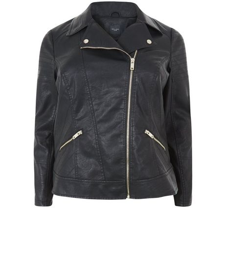Black Leather-Look Biker Jacket | New Look