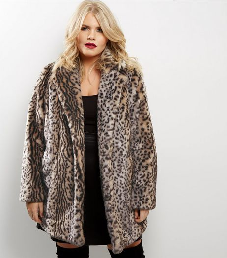 Curves Brown Animal Print Faux Fur Coat | New Look