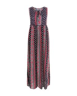 Blue Vanilla Blue Tile Print Lace Up Maxi Dress | New Look