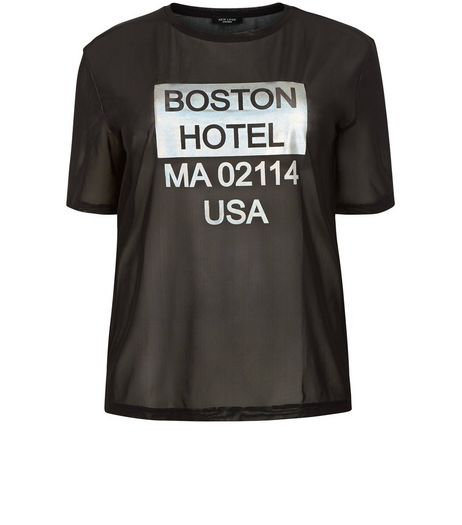Curves Black Mesh Foil Boston Print T-shirt | New Look