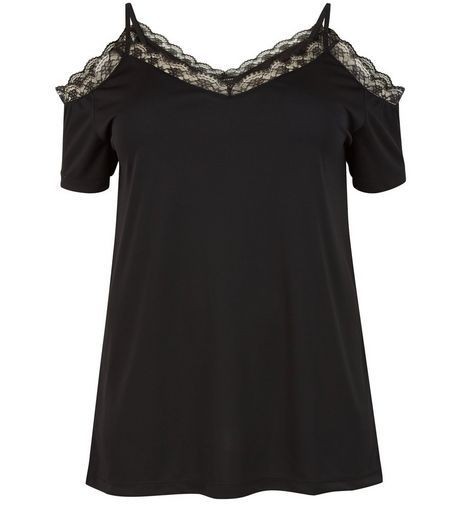 Curves Black Lace Trim Cold Shoulder Top | New Look