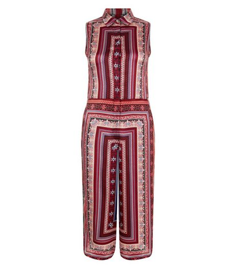 Blue Vanilla Red Tile Print Culotte Jumpsuit | New Look