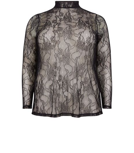 Curves Black Sheer Lace Top With Cami | New Look