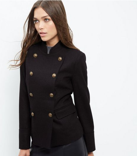 Navy Double Breasted Military Jacket  | New Look