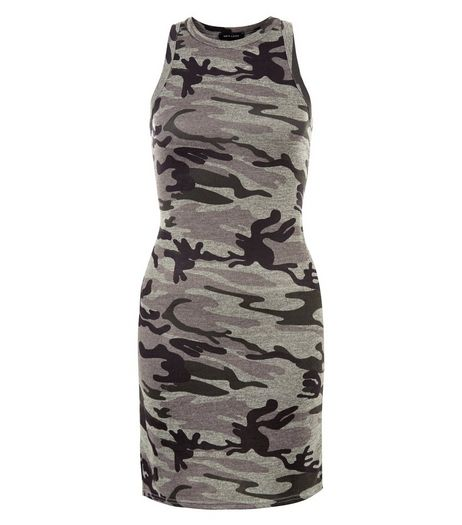 Green Camo Print Bodycon Mini Dress  | New Look