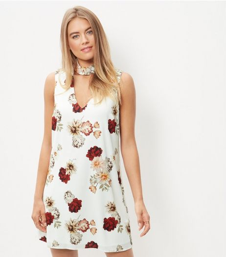 Cream Floral Print Choker Mini Dress | New Look