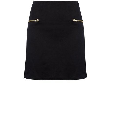 Teens Black Zip Side A-Line Skirt | New Look