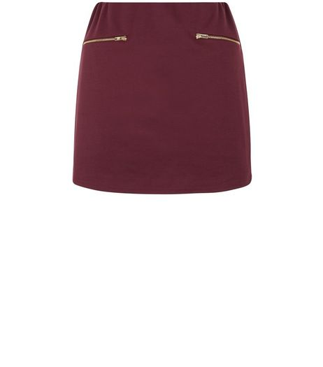 Teens Burgundy Zip Detail A-line Skirt | New Look