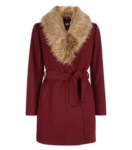 Teens Burgundy Wrap Front Faux Fur Collar Coat | New Look