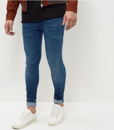 Blue Washed HyperFlex Super Skinny Jeans  | New Look