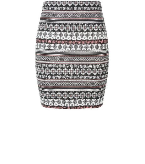 Teens White Aztec Print Tube Skirt | New Look