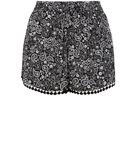 Teens Black Paisley Print Shorts | New Look