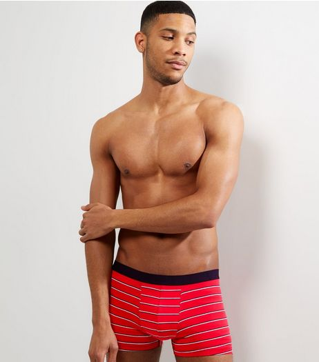 3 Pack Red Stripe Print Trunks | New Look
