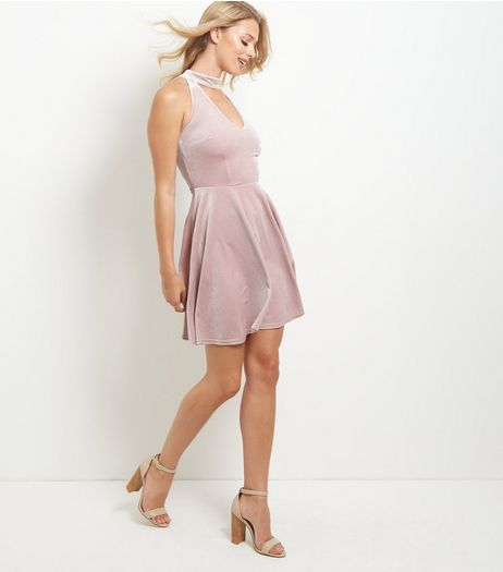 Pink Velvet Choker Cut Out Skater Dress | New Look