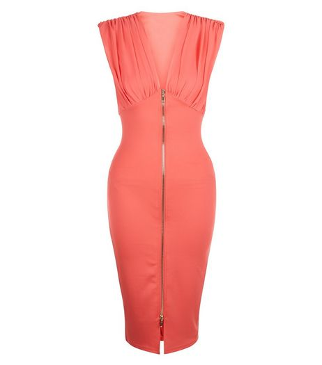 AX Paris Coral Chiffon Zip Front Midi Dress | New Look