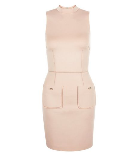 AX Paris Mid Pink High Neck Double Pocket Dress | New Look